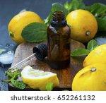 fresh lemon essential oil ... | Shutterstock . vector #652261132