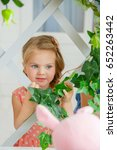a little girl with a hairpin in ... | Shutterstock . vector #652263442