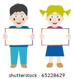 happy children with blank... | Shutterstock .eps vector #65228629