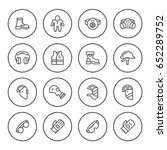 set round line icons of... | Shutterstock .eps vector #652289752
