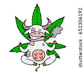 cow smokes cannabis and... | Shutterstock .eps vector #652306192