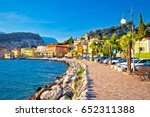 colorful town of torbole on... | Shutterstock . vector #652311388
