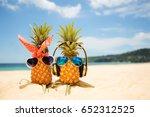 couple of attractive pineapples ...   Shutterstock . vector #652312525