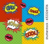pop art logos set. retro style... | Shutterstock . vector #652326556