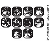 hot drinks icon set  black and... | Shutterstock .eps vector #652328845
