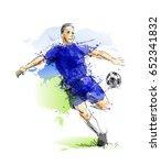 colored hand sketch footballer. ... | Shutterstock .eps vector #652341832