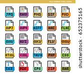 set of file format icons in... | Shutterstock .eps vector #652375165