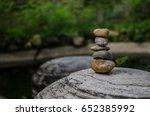 stone tower over big gray rock... | Shutterstock . vector #652385992