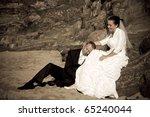 Wedding photo session in irish scenery - stock photo
