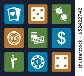 casino icons set. set of 9... | Shutterstock .eps vector #652422742