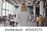 beautiful blonde female team... | Shutterstock . vector #652425172