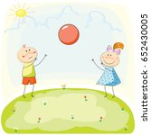 children playing with a ball on ... | Shutterstock .eps vector #652430005