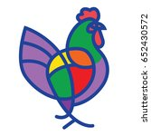 stylized vector rooster   totem ...   Shutterstock .eps vector #652430572