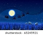 santa flying into the winter... | Shutterstock .eps vector #65245921
