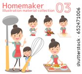 a homemaker cooks delicious food | Shutterstock .eps vector #652471006