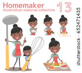 a homemaker cooks delicious food | Shutterstock .eps vector #652471435