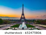 eiffel tower with tocadero... | Shutterstock . vector #652475806
