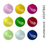 christmas balls with stars in... | Shutterstock . vector #65247862