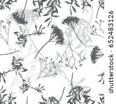 floral black and white seamless ... | Shutterstock . vector #652483126