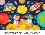 animals on moon in rocket and... | Shutterstock .eps vector #652495996
