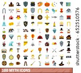 100 myth icons set in flat... | Shutterstock .eps vector #652510576