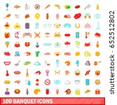 100 banquet icons set in... | Shutterstock .eps vector #652512802