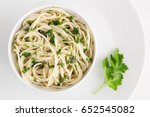 oil and garlic spaghetti with... | Shutterstock . vector #652545082