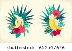 palm leaves  bananas  hibiscus... | Shutterstock .eps vector #652547626