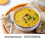 lentil soup with pita bread in... | Shutterstock . vector #652554826