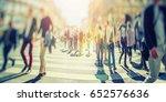 busy pedestrian crossing over... | Shutterstock . vector #652576636