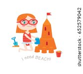 i need beach greeting card in... | Shutterstock .eps vector #652579042