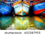 multicolored old boat in the...