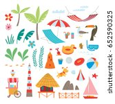 summer elements collection. set ... | Shutterstock .eps vector #652590325
