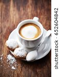 cup of espresso macchiato with... | Shutterstock . vector #652604842