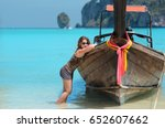 young woman in sunglases near... | Shutterstock . vector #652607662