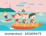 landscape with cute children in ... | Shutterstock .eps vector #652609675