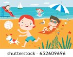 landscape with cute children in ... | Shutterstock .eps vector #652609696