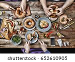 group of people dining concept | Shutterstock . vector #652610905