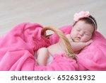 newborn sleeping in basket ... | Shutterstock . vector #652631932