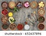 herb tea selectionn in wooden... | Shutterstock . vector #652637896