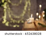 group of candles on wooden... | Shutterstock . vector #652638028