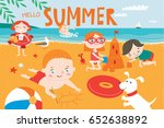 landscape with cute children... | Shutterstock .eps vector #652638892