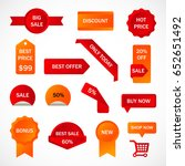 vector stickers  price tag ... | Shutterstock .eps vector #652651492