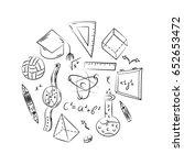 hand drawn school symbols.... | Shutterstock .eps vector #652653472