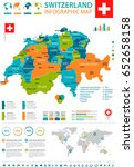 switzerland info graphic map... | Shutterstock .eps vector #652658158