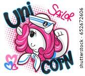 cute cartoon unicorn girl... | Shutterstock .eps vector #652672606