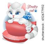 Stock vector little cat illustration animals vector animals cartoon cute cat vector childrens illustration 652677952