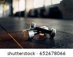 dumbbells on rubber floor... | Shutterstock . vector #652678066