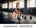 woman doing exercise with... | Shutterstock . vector #652678912