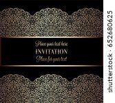 floral invitation card or... | Shutterstock .eps vector #652680625